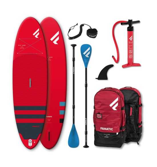 """Fanatic Fly Air 9'8"""" Red 2021 Inflatable SUP Package"""